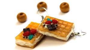food earrings diy earrings waffles miniature food polymer clay tutotial