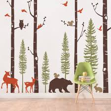 pine tree wall decal etsy birch tree wall decal with animals baby nursery wall stickers forest pine tree and