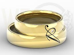 Ring With Initials Pair Of The Yellow Gold Wedding Rings With Diamond 0 02ct And