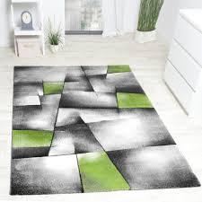 Esszimmer Teppich Designer Teppich Kariert Konturen Schnitt In Grün Grau Design Teppiche