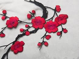 1pcs clothing embroidery plum flower patch embroidered iron on