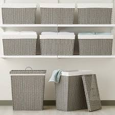 decorative laundry hampers grey montauk rectangular hamper the container store