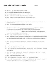 How The Earth Was Made Worksheet Answers How The Earth Was Made Questions By Kirkwood Tpt