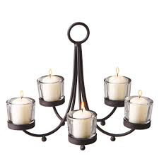 metal votive candle chandelier with 5 clear votive holders midwest
