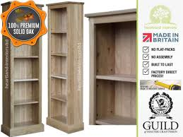 narrow bookcase with doors contemporary solid oak 5ft tall narrow bookcase