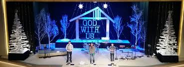 Decoration Christmas Stage by Manger Frame Church Stage Design Ideas