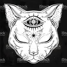 chalkboard halloween cat clear background black cat head portrait with moon and three eyes stock vector art