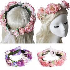 bridal garland boho bridal flower crown floral headband wedding garland pink purple