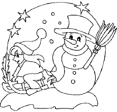 snowman with a kids in winter season coloring pages winter