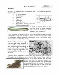 weapons used in world war i facts u0026 information worksheet