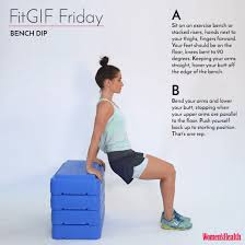 Triceps Bench Dips Bench Dip Fitgif Friday Women U0027s Health