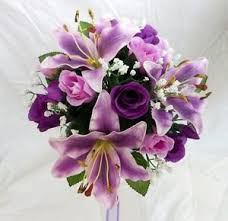purple roses bridesmaids wedding bouquet purple tiger lillies ivory purple