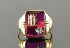 mens monogram ring 10k 6 5g m w inset diamond monogram initial letter men s
