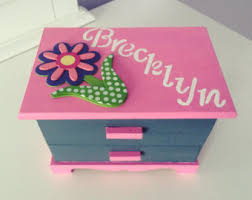 personalized girl jewelry box personalized large white hanging jewelry box painted