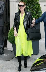 Celine Dion Home by Celine Dion Wears Leather Jacket And Neon Dress In Paris Instyle Com