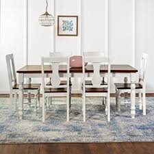 amazon com we furniture 7 piece two toned solid wood dining set