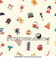 travel symbols images Clipart of flat design japan travel pattern with landmarks famous jpg