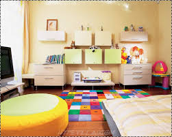 bedroom creative kids room with colorful rug and yellow ottoman