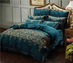 Royal Bedding Sets 60s Cotton Gold Embroidery Luxury Royal Bedding Set King