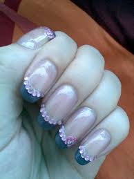 juicy nails nail art french tip with rhinestones and rose nail