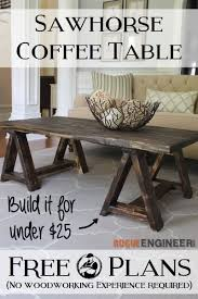 Plans For Wooden Coffee Table by Sawhorse Coffee Table Free Diy Plans Rogue Engineer