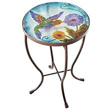 Patio Accent Table Hummingbird Glass Metal Indoor Outdoor Garden