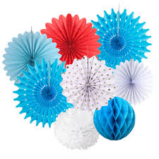 tissue paper decorations 8pcs royal blue white paper decoration set tissue paper fans