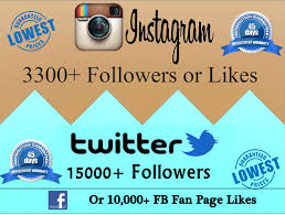 facebook fan page followers get 15000 twitter followers or 3300 followers or 10000 likes for 5