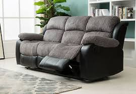 Recliner Sofa New Luxury California 3 Seat Jumbo Cord Faux Leather Recliner Sofa