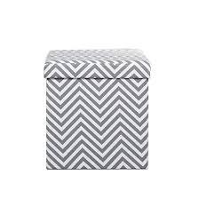 soft modern upholstered storage ottoman gray and white chevron