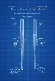 baseball bat patent patent print wall decor baseball art bat