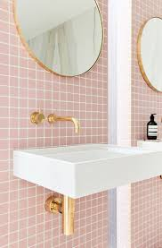 Gold Bathroom Fixtures by A Gorgeous Pink Tiled Bathroom With Gold Hardware Pink Tiles