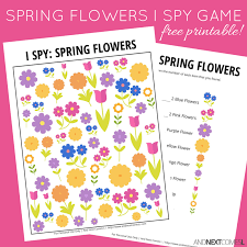 printable spring flowers spring flowers i spy game free printable for kids and next comes l