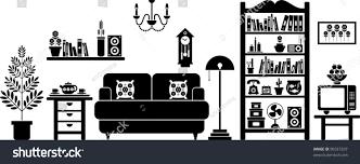 Living Room Clipart Black And White Vectorized Living Room Stock Vector 90337207 Shutterstock