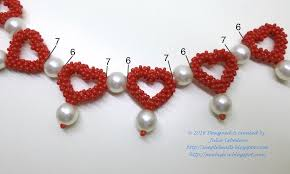 heart beaded necklace images Beading for the very beginners 39 pearls among hearts 39 necklace jpg