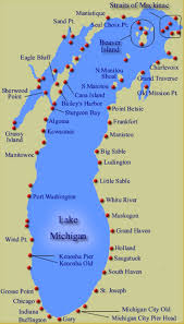map of michigan lakes map showing the approx 88 lighthouses along the shoreline of lake