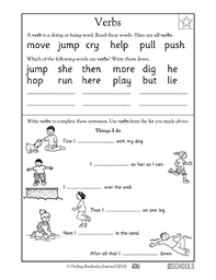 Verb Worksheets 1st Grade Kindergarten Reading Writing Worksheets Verbs