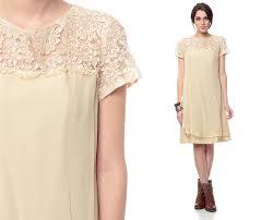 chiffon lace dress 60s cream crochet mini drape party 1960s