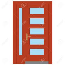 Front Doors For Homes Vector Illustration Realistic Closed Red Front Door Isolated