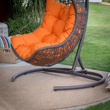 Patio Egg Chair Swinging Egg Chair Wicker Brown W Orange Cushion Brown