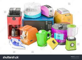 Toaster Kettle Set Set Colored Kitchen Home Appliances Toaster Stock Illustration