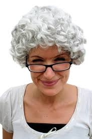 fancy dress halloween lady wig grey curl granny old spinster woman