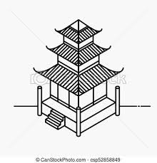 Architecture element in oriental style outline isometric pagoda