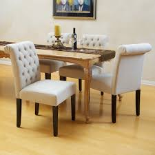 Tufted Dining Chair Set Elmerson Tufted Ivory Linen Dining Chair Set Of 2 Modern Intended