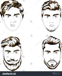four variants mans haircut clip art stock illustration 682528033
