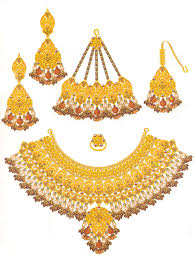 gold set in pakistan bridal set with semi precious stones bjh9005