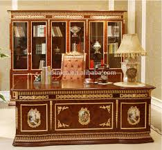 Fancy Office Desks Rococo Office Furniture Solid Wood Gold Leaf Office Desk