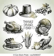 thanksgiving day set vintage illustrations eps vector