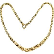 necklace elegant images Elegant 18k solid gold necklace stamped french spiga wheat chain jpg