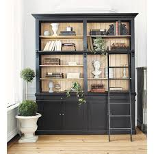 Bookcase With Ladder Solid Wood Bookcase With Ladder In Black W 201cm Versailles